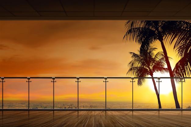 Schöne aussicht auf den ozean bei sonnenuntergang