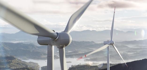 Schöne aussicht auf die windkraftanlagen in einer wolkigen landschaft. windenergieerzeuger