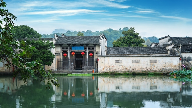 Schöne aussicht auf hongcun dorf, hweichow, china