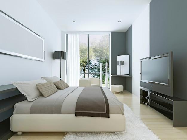 Schöne aussicht auf schönes gemütliches schlafzimmer mit sommer im freien