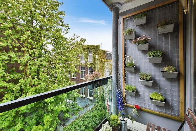 Schöne aussicht auf wohngebiet vom balkon