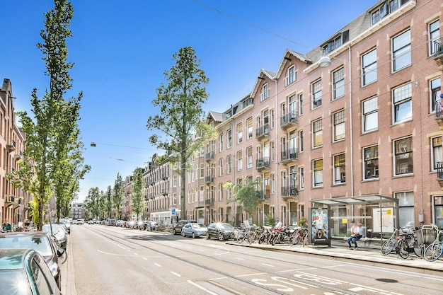Schöne aussicht auf wohnhaus mit luxusfassade