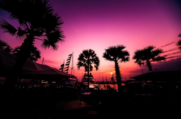 Schöne aussicht auf yachthafen und hafen mit yachten und motorbooten. sonnenuntergang am meer.