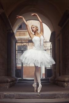 Schöne ballettfrau im freien