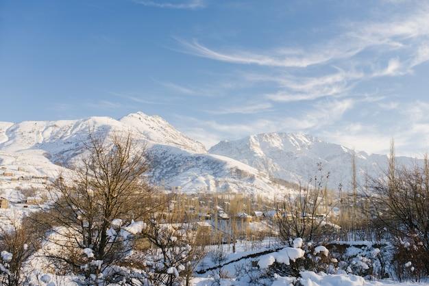 Schöne berglandschaft im winter in usbekistan im bereich des berges chimgan