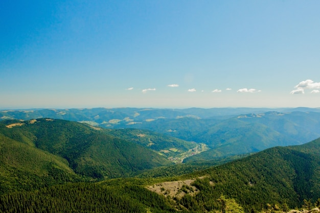 Schöne berglandschaft, wenn die bergspitzen mit wald und einem bewölkten himmel bedeckt sind. ukraine berge, europa