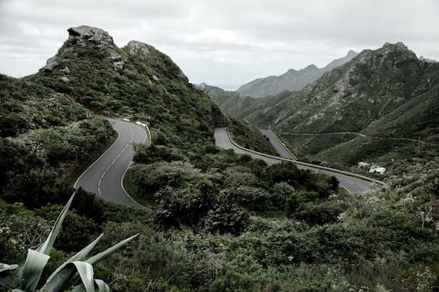 Schöne bergstraße in teneriffa, spanien. erstaunliche wilde natur in europa.