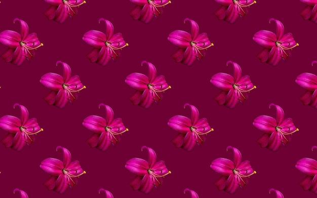 Schöne blumen rosa lilien. nahtloses muster der lilienblumenblüte. natürlicher mit blumenhintergrund.
