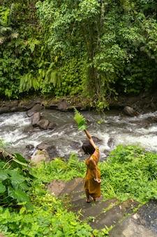 Schöne brünette frau, die blätter hält, während sie schritt für schritt zum bergwasser geht stockfoto