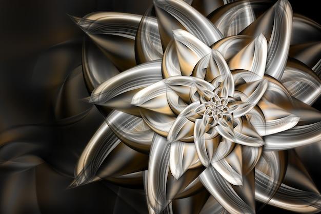 Schöne fraktale metallblume auf dunklem hintergrund