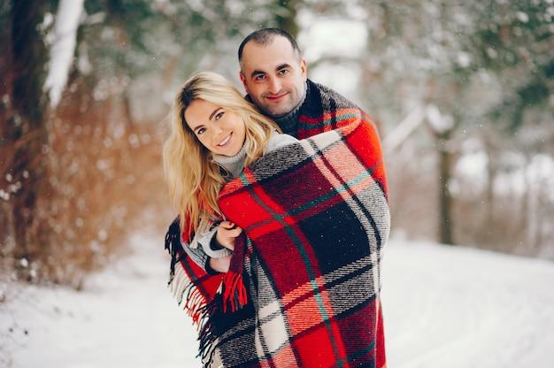 Schöne frau in einem winterpark mit ihrem ehemann