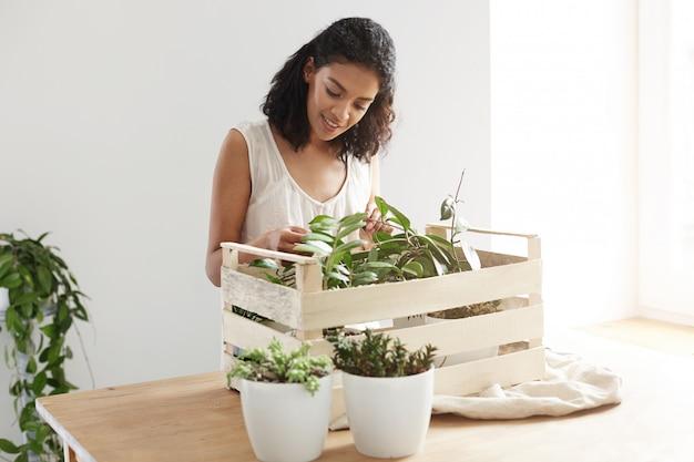 Schöne frau lächelnd, die pflanzen im kasten am arbeitsplatz kümmert