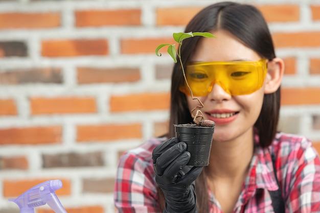 Schöne frau lächelnd, während pflanzen wachsen