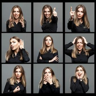 Schöne frau mit verschiedenen emotionen. spektakuläre blondine in einem schwarzen hemd. grauer hintergrund. collage, bildersatz. quadratisches format.
