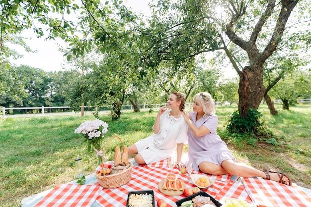 Schöne frauen, die sich auf einem picknick mitten im park entspannen