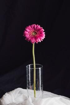 Schöne frische helle rosa blüte im vase auf weißem gewebe