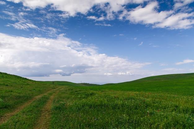 Schöne frühlings- und sommerlandschaft. gebirgslandstraße zwischen grünen hügeln. üppig grüne hügel, hohe berge. frühlingsblühendes gras.