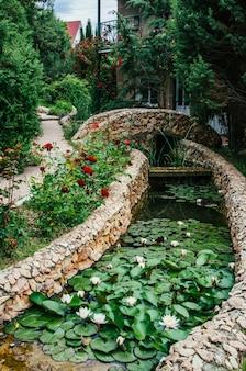 Schöne gartenlandschaftsgestaltung, teich mit seerosen, rosen