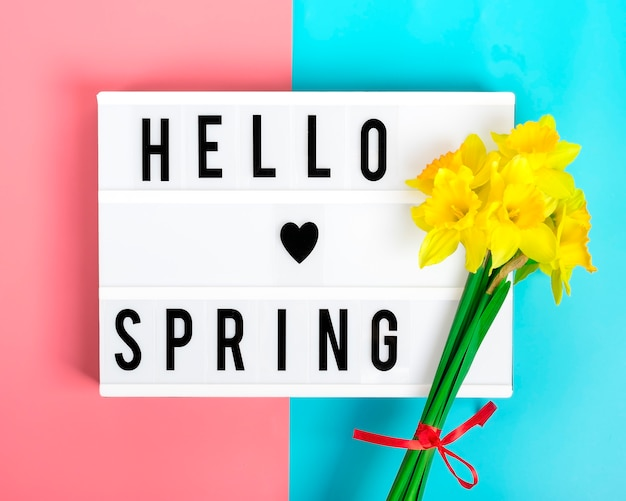 Schöne gelbe blüten von narzissen, leuchtkasten mit zitat hallo frühling