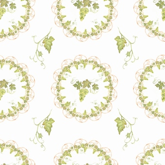 Schöne gezeichnetes nahtloses grünes und gelbes muster des aquarells hand mit traubenniederlassungen und -blättern. isoliert. perfekt für ihr design.harvest süße zeit.