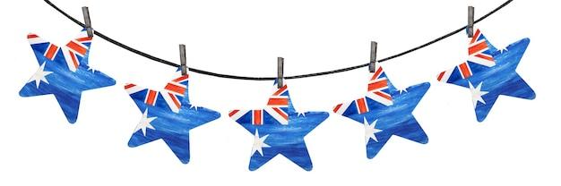 Schöne girlande mit kleinen australischen flaggen.