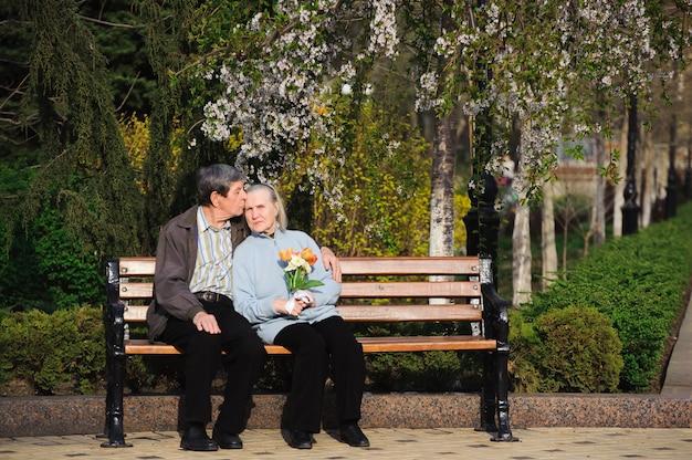 Schöne glückliche alte leute, die im herbstpark sitzen