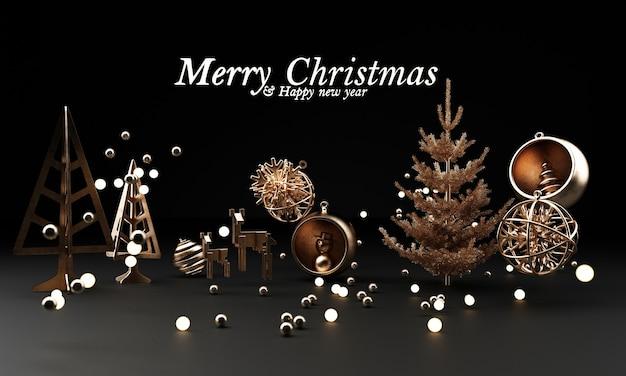 Schöne goldene silberne deko-kugeln des weihnachtsfestes auf dunklem schwarz.