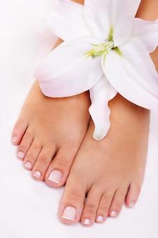 Schöne gut gepflegte weibliche füße mit blume