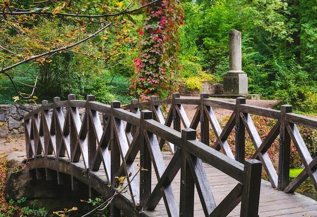 Schöne holzbrücke über den teich in einem bunten herbstpark