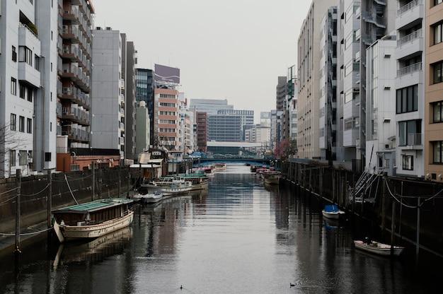 Schöne japanische stadt mit fluss