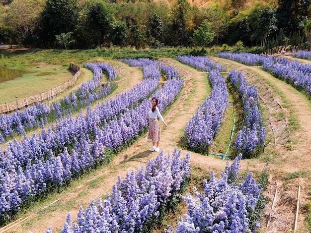 Schöne junge asiatische frau, die im blühenden garten der lila margaretblume genießt