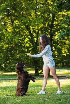 Schöne junge frau, die mit ihrem hund im garten spielt