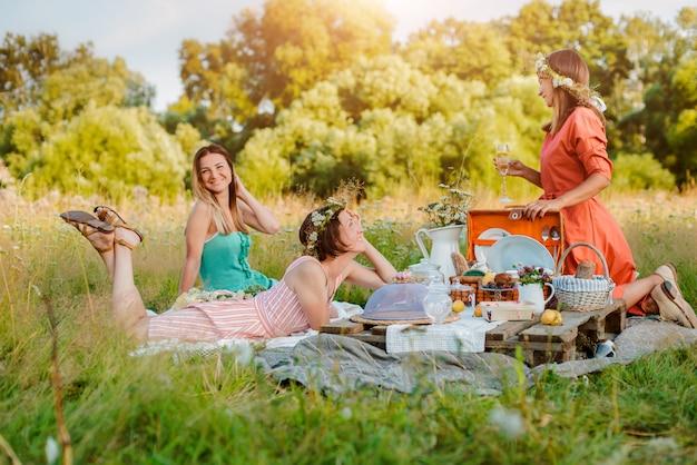 Schöne junge freundinmädchenfrauen auf einem picknick im sommerspaß, zum des weins zu feiern und zu trinken.