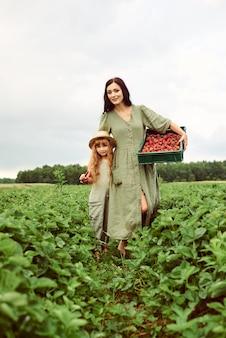 Schöne junge kaukasische mutter mit ihrer tochter in einem leinenkleid mit einem korb von erdbeeren sammelt eine neue ernte