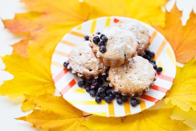 Schöne kuchen mit puderzucker und blaubeeren