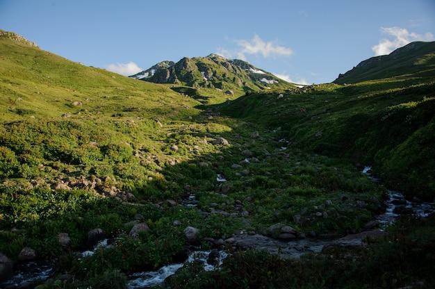 Schöne landschaft der felsigen berge unter dem weißen nebel bedeckt mit gras mit den schneeresten mit einem strom