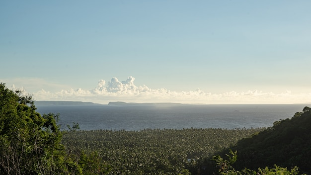 Schöne landschaft des grünen tals am meeresufer in krabi, thailand stockfoto