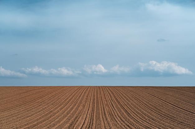 Schöne landschaft eines kultivierten landwirtschaftlichen feldes unter einem bewölkten himmel