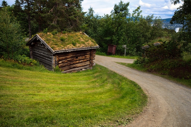 Schöne landschaft mit altem altem historischem haus in norwegen