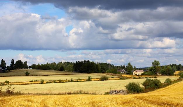 Schöne landschaft mit bauernhof, feldern und himmel