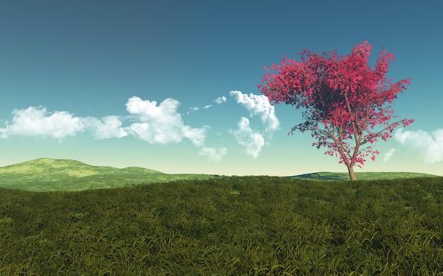 Schöne landschaft mit baum