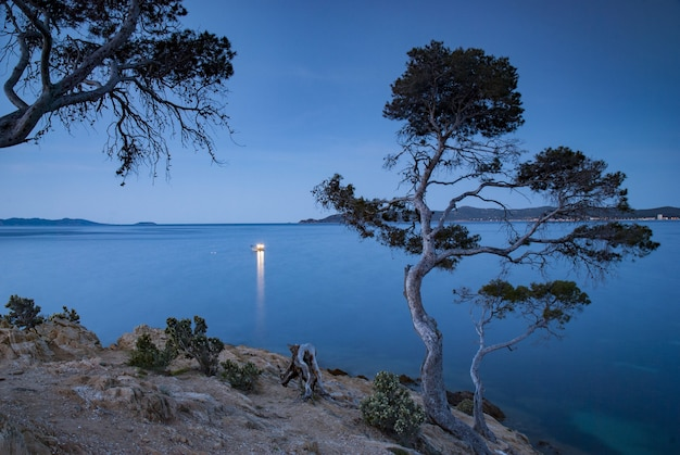 Schöne landschaft mit einem fischerboot am frühen morgen vor der küste der provence in der nähe von le lavandou