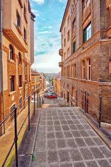 Schöne landschaft und städtischer blick auf budapest, straßen, gebäude. ungarn