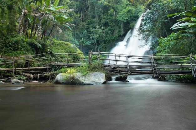 Schöne landschaft, wasserfall in wildem