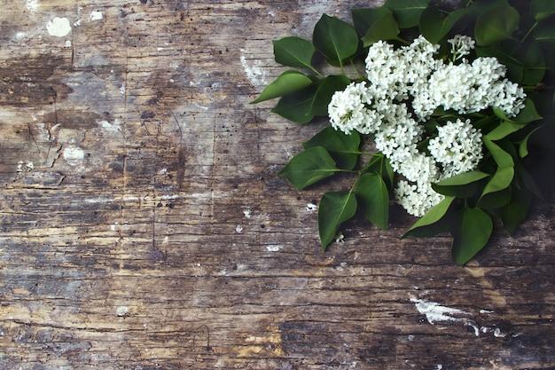 Schöne lila blumen auf rustikaler hölzerner hintergrundoberseite vi raum, konzept.