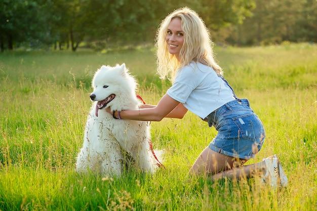 Schöne lockige blonde lächelnde glückliche junge frau in denim-shorts, die einen weißen, flauschigen, süßen samojeden-hund im sommerpark-sonnenuntergangstrahlen-feldhintergrund ausbildet und spielt. haustier und gastgeberin.