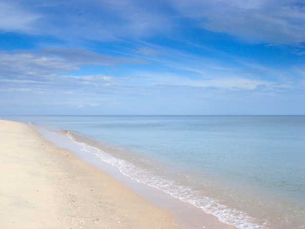 Schöne meerblickbilder des strandes und des himmels mit weißer wolke im sommer