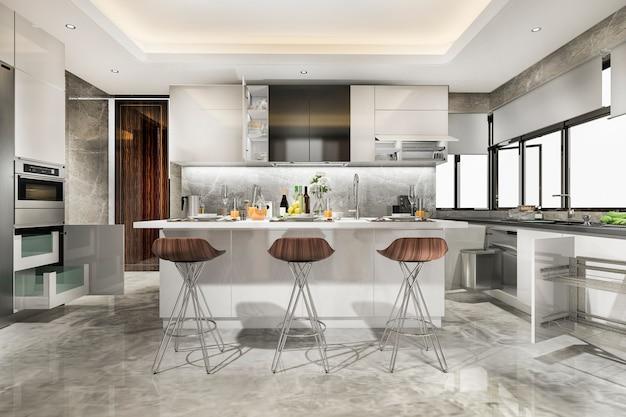 Schöne moderne küche des 3d-renderings mit essbar