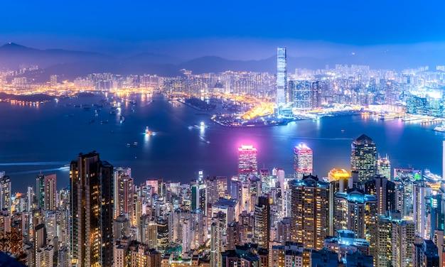 Schöne nachtansicht von hong kong