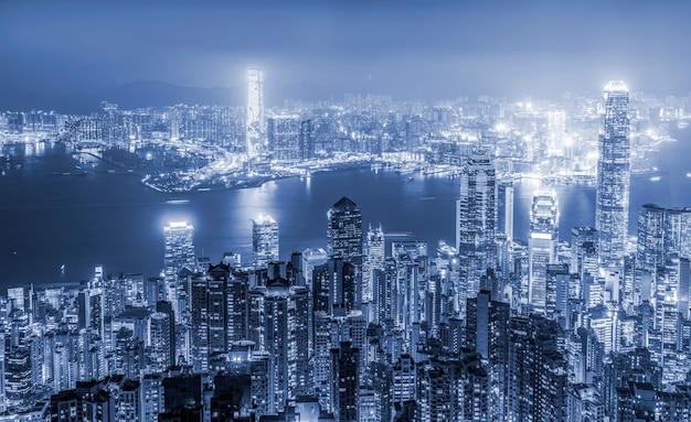 Schöne nachtansicht von hongkong